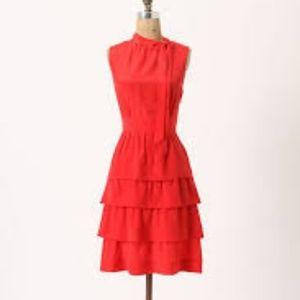 Anthropologie Ruffled Oska Silk Dress
